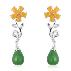 Multi Colour Jade and Zircon Drop Earrings in Rhodium Plated Silver with Push Back 15.30 Ct
