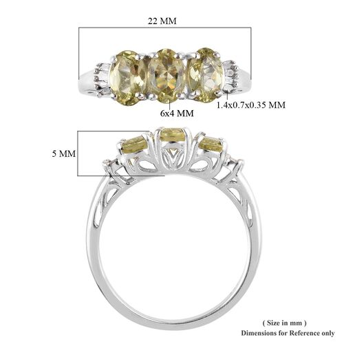 One Time Deal- Madagascar Golden Apatite (Ovl), Diamond Ring in Platinum Overlay Sterling Silver 1.54 Ct.