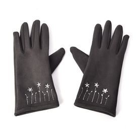 Solid Colour Women Winter Gloves with Star Embroidery on the Wrist (Size 8.9x22.9 Cm) - Silver