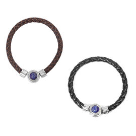 Set of 2 -  Rose Quartz and Lapis Lazuli Leather Bracelet in Stainless Steel