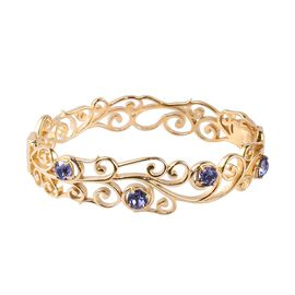 J Francis Tanzanite Colour Crystal from Swarovski Floral Vine Bangle in 18K Gold Plated 7.5 Inch