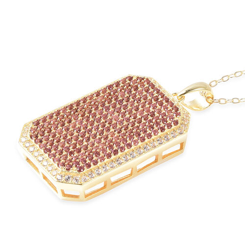 Rhodolite Garnet (Rnd), Natural White Cambodian Zircon Pendant with Chain (Size 18) in 14K Gold Overlay Sterling Silver 2.46 Ct, Silver wt 8.67 Gms, Number of Gemstone 246