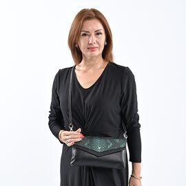 Sencillez Genuine Leather Snake Print Bag (Size 28x3x17cm) - Black & Green