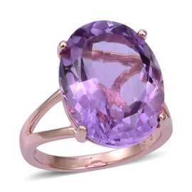 16.5 Ct Pink Amethyst Solitaire Ring in Sterling Silver 4.5 Grams