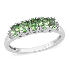 Tsavorite Garnet and Diamond Ring in Platinum Overlay Sterling Silver 1.00 Ct.