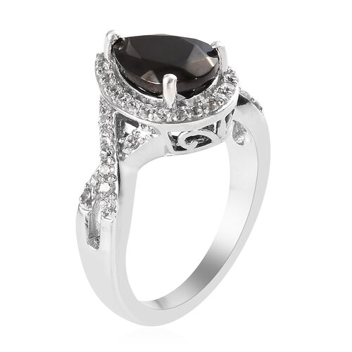 Elite Shungite (Pear 10x7 mm), Natural Cambodian Zircon Ring in Platinum Overlay Sterling Silver 1.500 Ct.