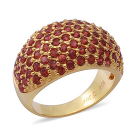 Red Sapphire Cluster Ring in yellow Gold Overlay Sterling Silver 3.76 Ct.