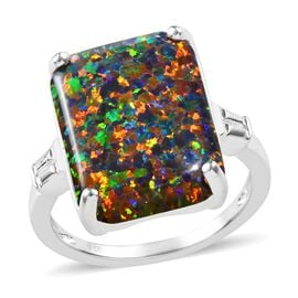 Simulated Black Opal (Oct 16x12 mm) Ring in Sterling Silver