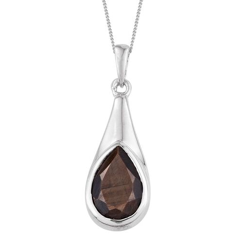 Natural Zawadi Golden Sheen Sapphire (Pear) Solitaire Pendant with Chain in Platinum Overlay Sterling Silver 4.250 Ct. Silver wt. 3.80 Gms.