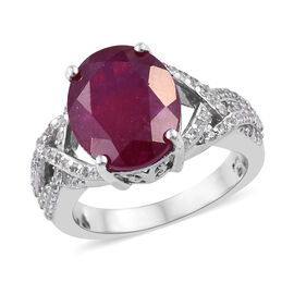 7.25 Ct African Ruby and Cambodian Zircon Halo Ring in Sterling Silver 4.75 Grams