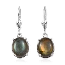 8.75 Ct Labradorite Solitaire Drop Earrings with Lever Back in Sterling Silver