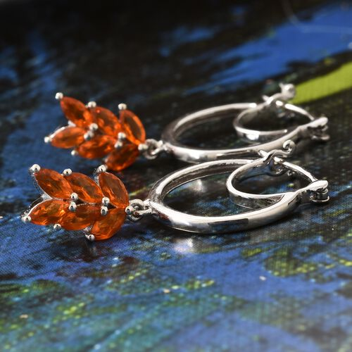 Jalisco Fire Opal (Mrq) Earrings (with Clasp Lock) in Platinum Overlay Sterling Silver 1.250 Ct.