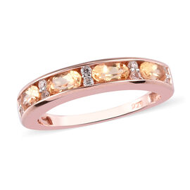 Golden Imperial Topaz and Natural Cambodian Zircon Half Eternity Band Ring in Rose Gold Overlay Ster