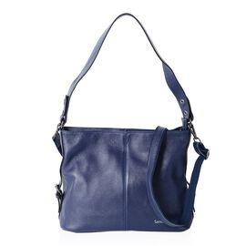 SENCILLEZ Super Soft 100% Genuine Leather Royal Blue Shoulder Bag with External Zipper Pocket and Re
