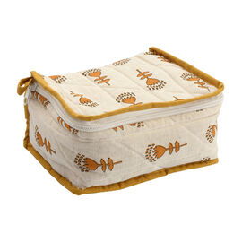 Cotton Traditional Print Quilted Makeup Bag (Size 15x7x14 Cm) - Mustard and White