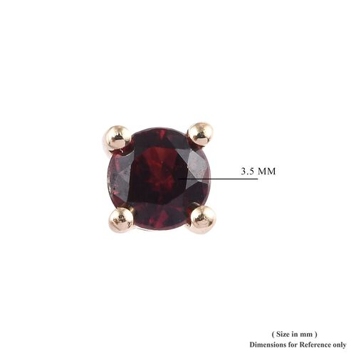 9K Yellow Gold Red Spinel Solitaire Stud Earrings