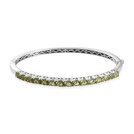 Hebei Peridot Bangle (Size 7.5) in Platinum Overlay Sterling Silver 5.50 Ct, Silver wt 15.00 Gms