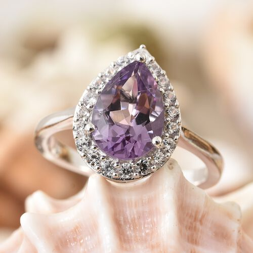 Rose De France Amethyst (Pear 2.50 Ct), Natural Cambodian Zircon Ring in Platinum Overlay Sterling Silver 3.000 Ct.