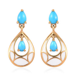 1.81 Ct Arizona Sleeping Beauty Turquoise Enamelled Drop Earrings in Gold Plated Sterling Silver