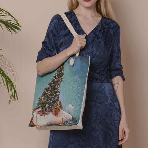 Christmas Collection Christmas Tree Print Jute Tote Bag (Size 42x34x9x37cm) - Multi Colour