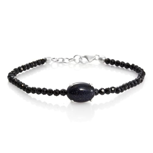 One Time Deal-Boi Ploi Black Spinel and Blue Sandstone Bracelet (Size 7.5 with Half inch Extender) in Sterling Silver 20.000 Ct.
