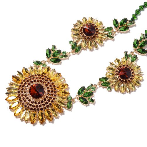 2 Piece Set - Multi and Brown Colour Austrian Crystal Necklace (Size 20 with 2 inch Extender) and Earrings (with Push Back) in Yellow Gold Tone