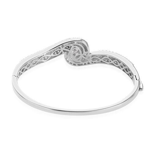 J Francis Platinum Overlay Sterling Silver Bangle (Size 7.5) Made with SWAROVSKI ZIRCONIA, 23.00 Gms