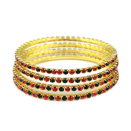 4 Piece Set - Green and Red Austrian Crystal Bangle (Size 7) in Gold Tone