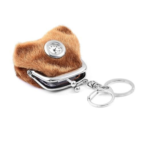Set of 2 - STRADA Japanese Movement White Dial Brown Colour Coin Purse Design Water Resistant Key Chain Watch in Silver Tone