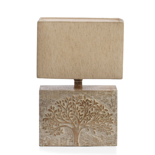 NAKKASHI -Solid Wood Hand Carved Tree of Life Table Lamp in Antique White Finish (Lamp Shade Include