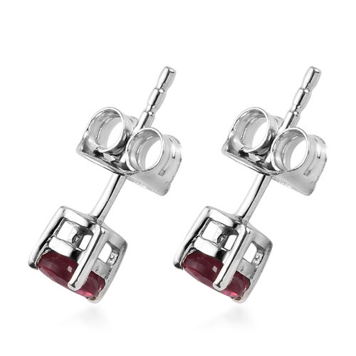 AA African Ruby Stud Earrings (with Push Back) in Platinum Overlay Sterling Silver 0.30 Ct.