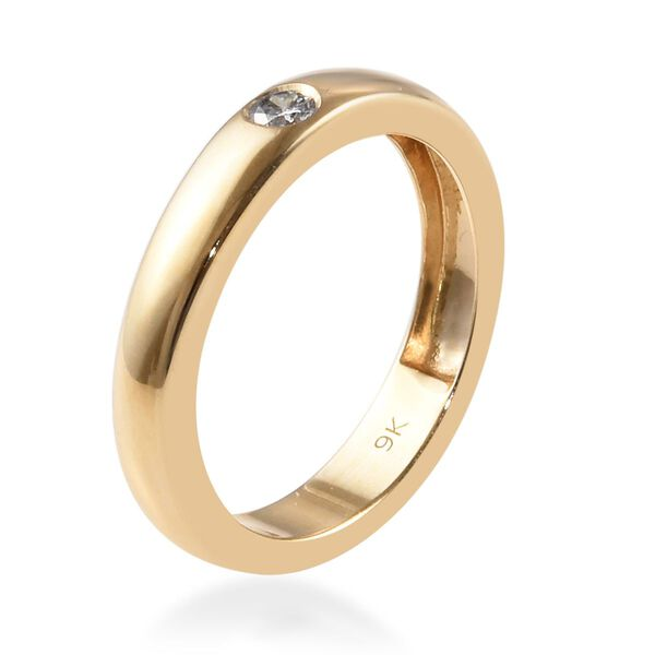9K Yellow Gold SGL Certified White Diamond (I1/G-H) Flush Setting Band Ring