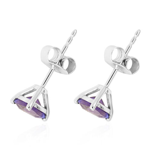 14K White Gold Tanzanite Stud Earrings (with Push Back) 1.25 Ct.