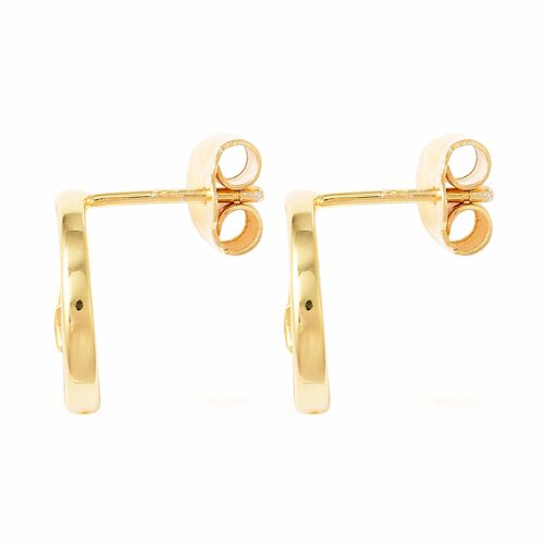 Isabella Liu - Twilight Collection - Natural White Cambodian Zircon (Rnd) Earrings (with Push Back) in Yellow Gold Overlay Sterling Silver