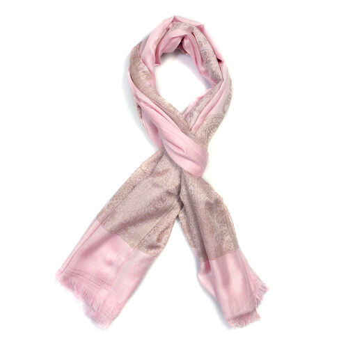 Pink and Beige Colour Woven Scarf (Size 180x70 Cm)