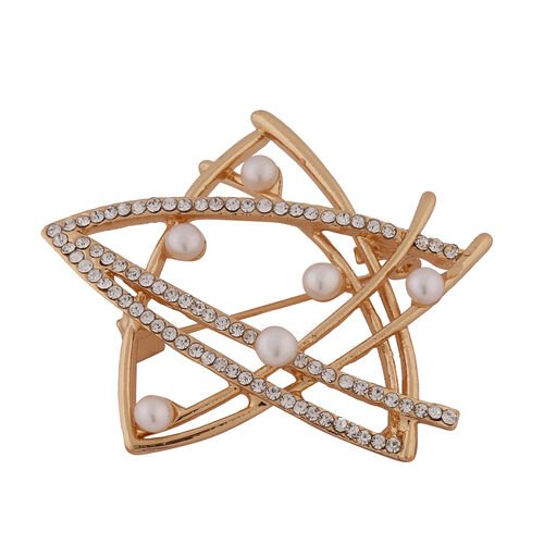 Simulated Pearl, White Austrian Crystal Star Brooch in Yellow Gold Tone