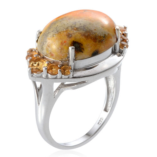 Bumble Bee Jasper (Ovl 8.00 Ct), Citrine Ring in Platinum Overlay Sterling Silver 9.000 Ct.