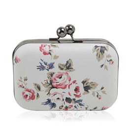 Floral Pattern Evie Clutch Bag with Chain - Cream Colour