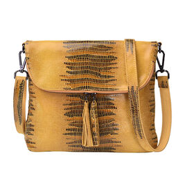 Lizard Skin Pattern 100% Genuine Leather Crossbody Bag with Detachable Shoulder Strap and Tassel (Si