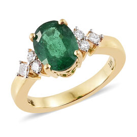 ILIANA 18K Gold 1.85 Ct Premium Santa Terezinha Emerald and Diamond Ring 5.35 grams