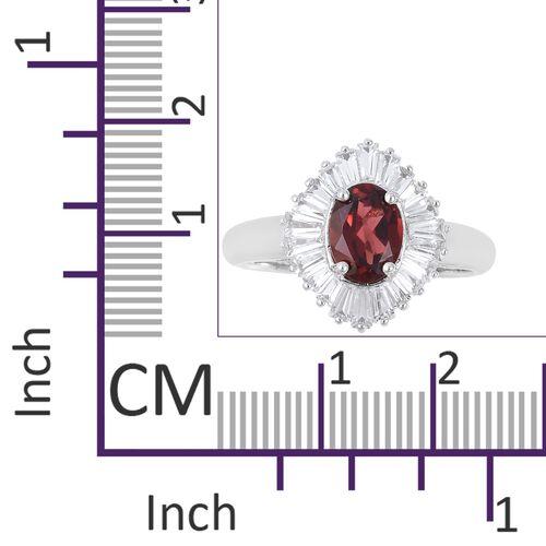Mozambique Garnet (Ovl), White Topaz Ring in Rhodium Overlay Sterling Silver 2.530 Ct.