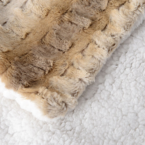 Deluxe Collection- High Quality 2 Pcs Faux Fur Cushion Cover Sett - Warm Walnut Colour