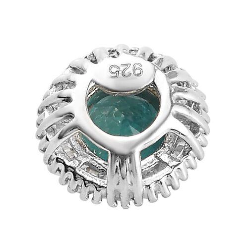 Grandidierite and White Diamond Halo Pendant in Platinum Overlay Sterling Silver 1.00 Ct.