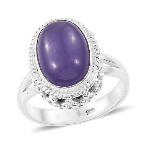 Purple Jade (Ovl) Ring in Sterling Silver 7.510 Ct. Silver wt 5.80 Gms.
