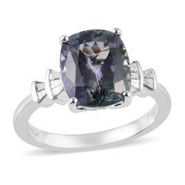RHAPSODY 950 Platinum AAAA Peacock Tanzanite (Cush), Diamond (VS/E-F) Ring 4.14 Ct, Platinum wt 5.60