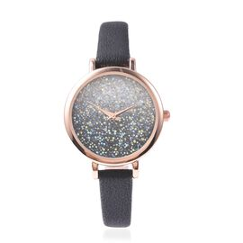 GENOA Japanese Movement Water Resistant Watch with AB Swarovski Crystals in Rose Gold Tone with Blac