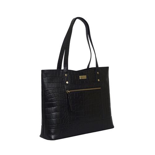 Assots London HELENE - 100% Genuine Leather Handbag (35x10x28) - Black