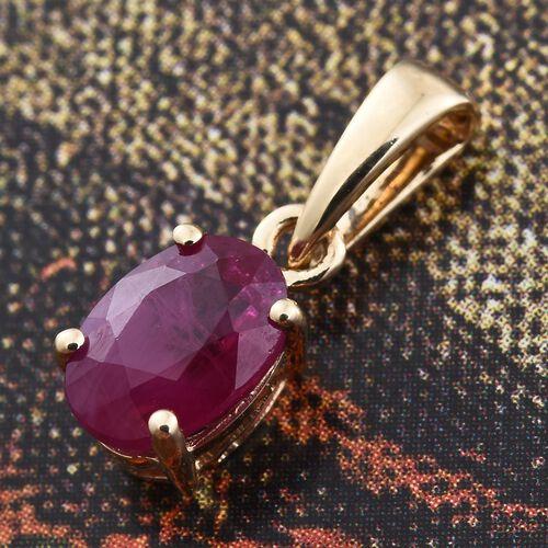 ILIANA 1 Carat AAA Burmese Ruby Solitaire Pendant in 18K Gold