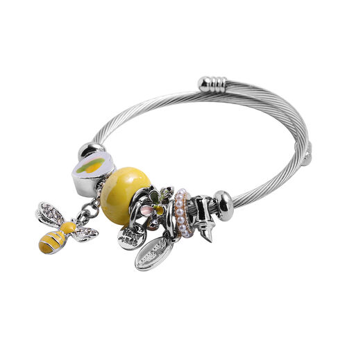 2 Piece Set - Simulated White Opal, Simulated Yellow Agate and Multi Colour Gemstone Multi-Charm Adjustable Enamelled Bracelet (Size 6-7.5) in Silver Tone