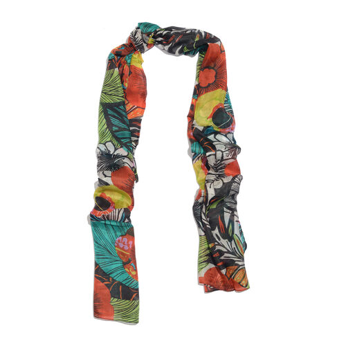 100% Mulberry Silk Red, Blue and Multi Colour Handscreen Floral Printed Scarf (Size 170X50 Cm)